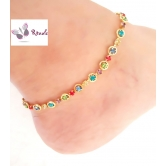 Gold Plated Multicolour Anklets