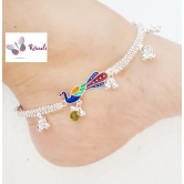 Rituals Peacock Motifs German Silver Anklets