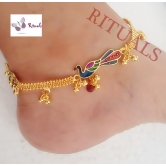Enamel Work  Peacock Gold Plated Anklets