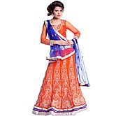 Orange Georgette Leh...