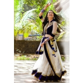 Blue And White Embroidered Net Lehenga
