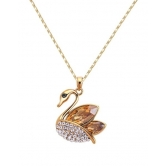Swan- Studded Pendant Necklace