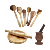 Wooden Ladle Set Of 6 + 1chakla + 1belan + Mortar & Petle Set