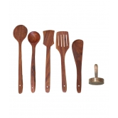 Wooden Sheesham Skimmer Set Of 5 + 1 Masher