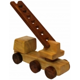 Desi Karigar Beautiful Wooden Fire Brigade Moving Toy