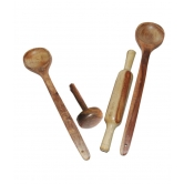 Wooden Ladel Set (2 Ladles+ 1 Mesher+ 1 Rolling Pin)