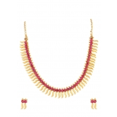 357 Diva Indian Bollywood  Pink Golden Necklace Set For Women