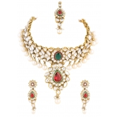 362 Diva Red Green Indian Bridal Pearl Kundan Necklace Set For Women