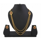 409 Gold Plated Red Stone 3 String Necklace Set For Women