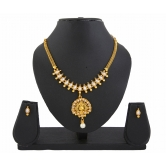 406 Pearl Gold Plated Peacock Necklace Set For Women