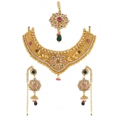339 Diva Gold Plated Bridal Necklace Earrings Set For Women