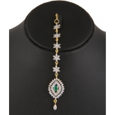 594 Adoreva Red Green Pearl Gold Plated Necklace Earrings Set For Women