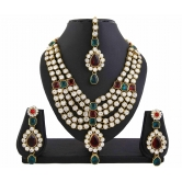 433 Bridal Kundan Red Green Bollywood Necklace Set For Women