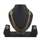 410 Gold Plated Green Stone 3 String Necklace Set For Women