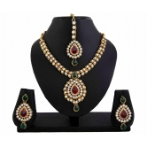 426 Kundan Red Green Bridal Bollywood Necklace Set For Women