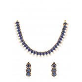 350 Diva Blue Stone Indian Necklace Set For Women