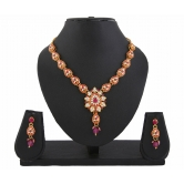 417 Kundan Pink Bollywood Pendant Necklace Set For Women