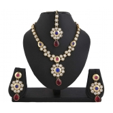 428 Kundan Pink Blue Indian Bollywood Necklace Set For Women