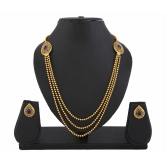 411 Gold Plated Blue Stone 3 String Necklace Set For Women