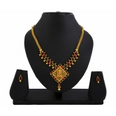422 Pink Green Laxmi Temple Jewellery Pendant Set For Women