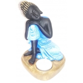 Sitting Buddha Balck And Blue With Tlight Holder