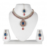 Antique Designer Kundan Necklace Set With Maang Tika