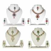 Gold Plated Party Wear Necklace Set With Maang Tika Combo Of 4 Sets