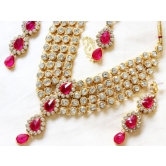 Designer Antique Gold Plated Kundan Diamonds Necklace Earring Tika Jewellery Set