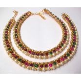 Craftsvilla Rainbow Color Stone Pearl Golden Anklet - Anklets & Toe Rings By