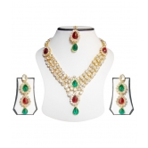 Malti Colors Brass Necklace Set With Mang Tika