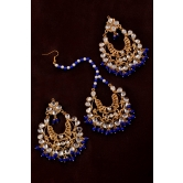 Blue Beads And Kundan Embellished Earrings And Maang Tika