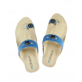 Ekolhapuri Designers Blue Upper Sandal For Ladies