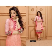 Fab  Latest Embroidered Designer Peach Straight Suits