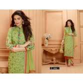 Fab  Latest Embroidered Designer Green Straight Suits