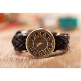 2015newest Design Vintage Faux Leather Knitting Women Men's Watch Black