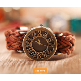 2015newest Design Vintage Faux Leather Knitting Women Men's Watch Brown