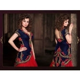 Diya Mirza Red & Blue Havvy Embroidery Velvet Lehngha
