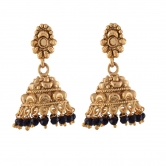 1 Gram Gold Plated Jhumki With Black Crystals