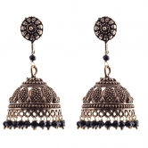 Oxodised Brass Jhumki With Black Crystal Drops