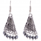 Oxodised Silver Plated Jhumki With Gun Metal Drops