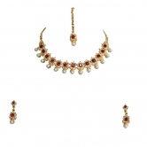 Gold Plated Polki & Pearl Beads Set With Earrings - Online Shopping For Jewellery Sets By Gold & More