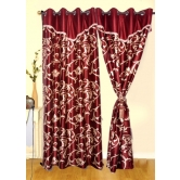 Beautiful Maroon Color Flower Design Curtain With Handmade Laces(4x7ft)