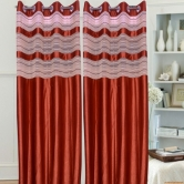 Handloomhub Beautiful Solid Crush Curtain With Tissue Strips Brown(4x7xft)