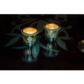 Silver Glass Votive With Jewel Ring And Dangler