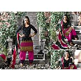 Amazing Designer Semi Stitched Pink & Black  Salwar Suit