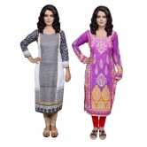 3006530045-iw Indiweaves Combo Offer- Women Cotton Printed And Pashmina Jaamavaar  Digital Printed Unstitched  Kurti Combo 2 - Fabric Size 2.4 M