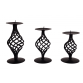 Classy Black Metal 3 Nos Candle Stand Gift Set