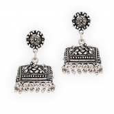 Big Hut Shape Silver Tone Stud Jhumka Earrings