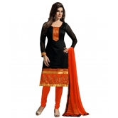 Kala Boutique   Chanderi Fabric & In Attractive Orange & Black Color Sel Sel