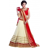 Red And Cream Embroidered Net Lehenga